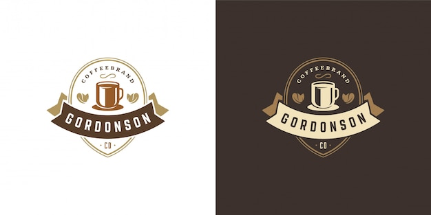 Coffee or tea shop logo template with bean silhouette good for cafe badge design and menu decoration
