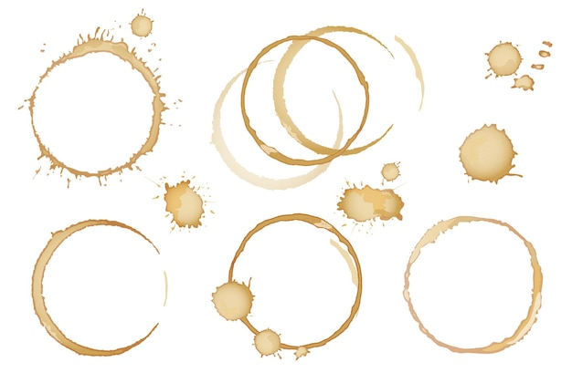 Coffee or tea stains and traces - modern vector isolated clip art on white background. splashes of cups, mugs and drops. use this high quality set for your menu, bar, cafe, restaurant