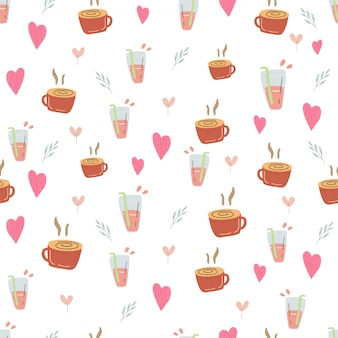 Coffee and tea summer relax seamless pattern