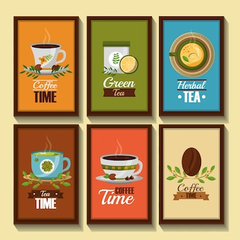 Coffee and tea time banners