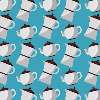 Coffee and tea time coffee maker and teapot pattern