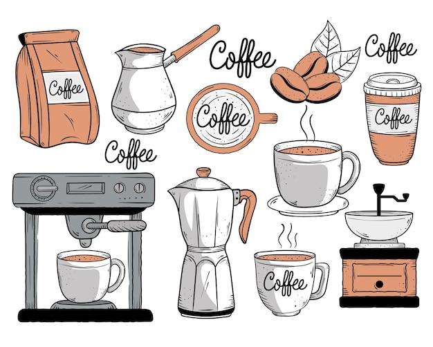 Кофе десять значков стиля каракули