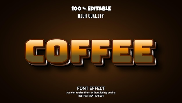 Coffee text effect editable font