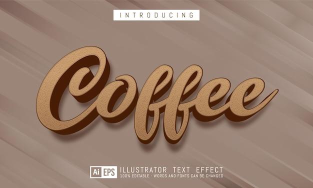 Эффект кофе-текста, редактируемый трехмерный текстовый стиль
