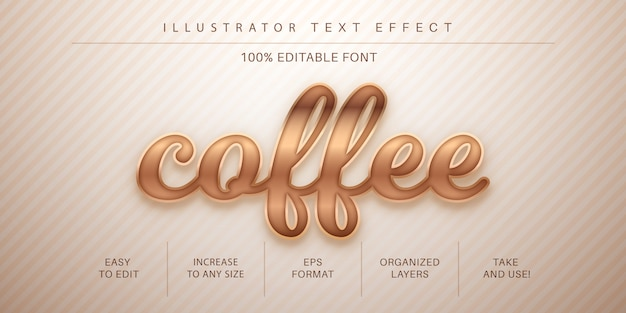 Текстовый эффект кофе, стиль шрифта