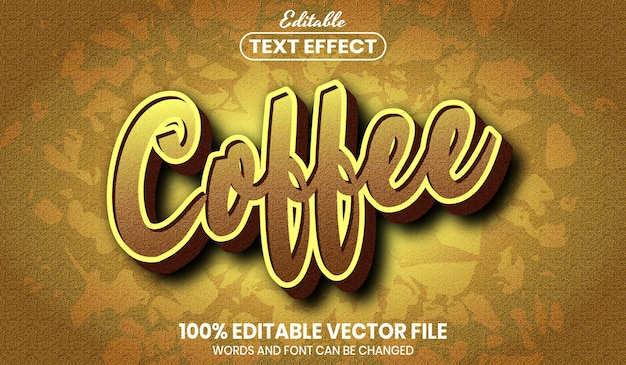 Coffee text, font style editable text effect