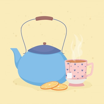 Кофе тайм и чай, чайник и ломтики апельсина