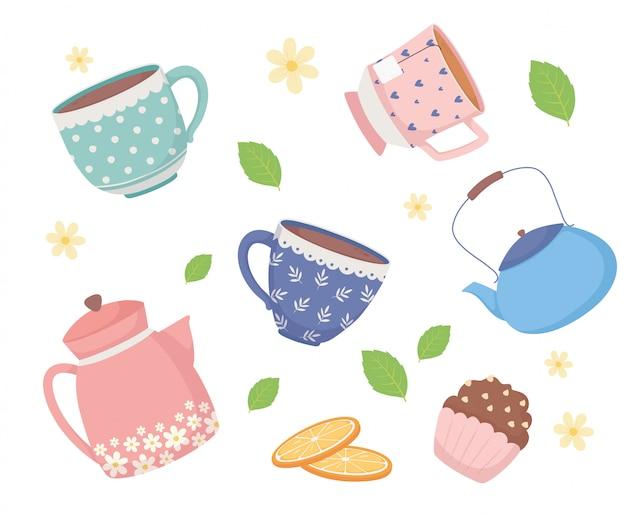 Кофе тайм и чай, чайные чашки, нарезанные фарфором апельсины и листья мяты