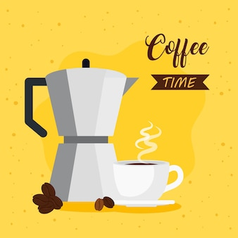 Coffee time banner with moka pot and cup ceramic illustration design