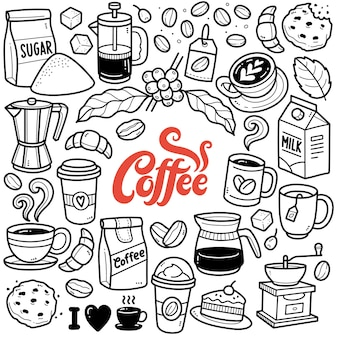 Coffee time black and white doodle illustration