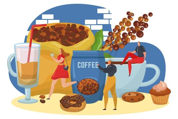 甘さのペストリーとドーナツの小さな人々が一緒にエネルギッシュな飲み物をキャラクター化するコーヒータイムブレイク...
