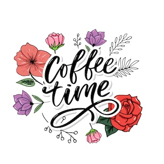 Coffee time card. hand drawn positive quote. modern brush calligraphy. hand drawn lettering