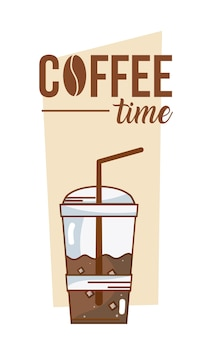 Coffee time card with cold coffee cup