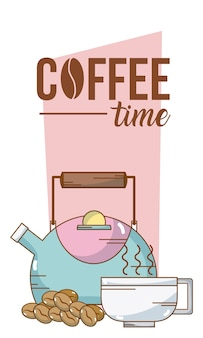 Coffee time card with kettle and cup