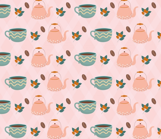 Coffee time, coffee cup teapots beans food beverage background