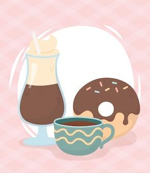 コーヒータイム、コーヒーモカカップ、ドーナツフレッシュドリンク
