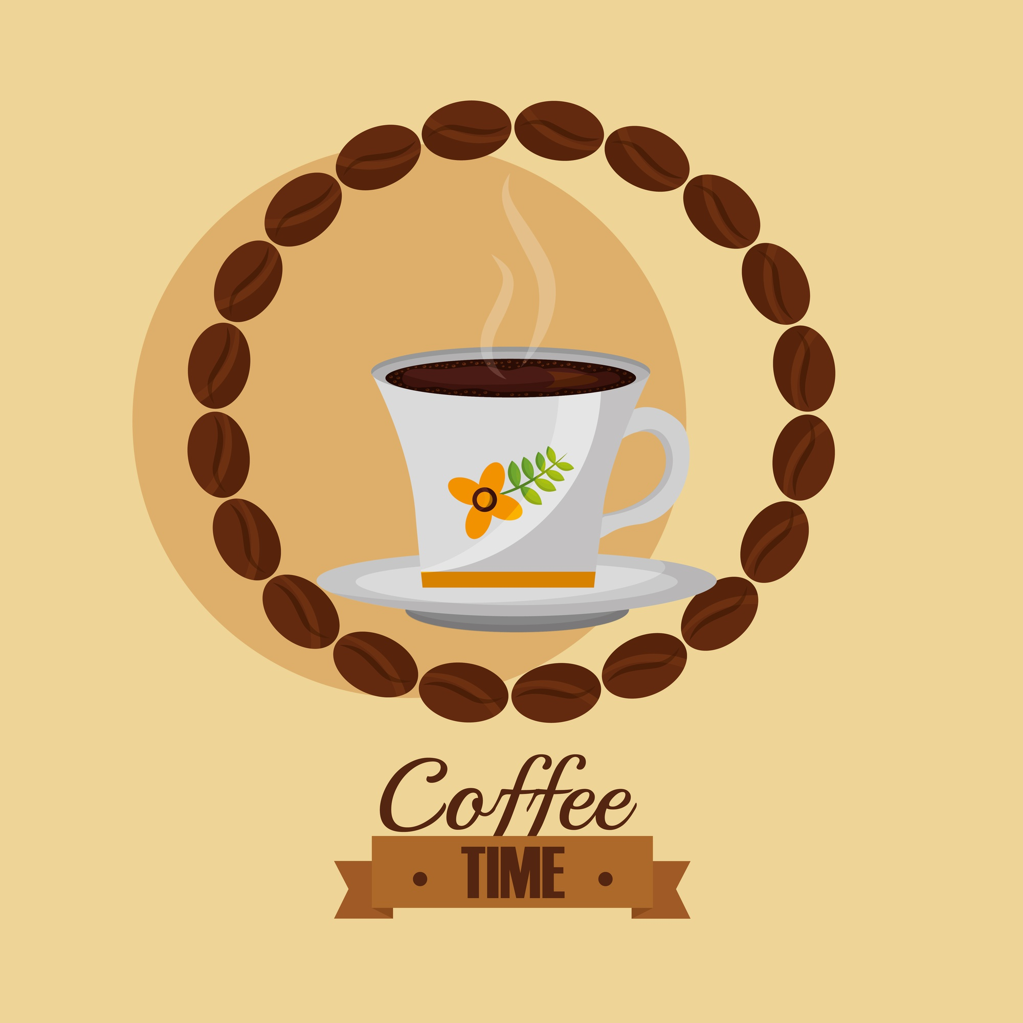 Coffee time cup and seeds shaped circle vector illustration