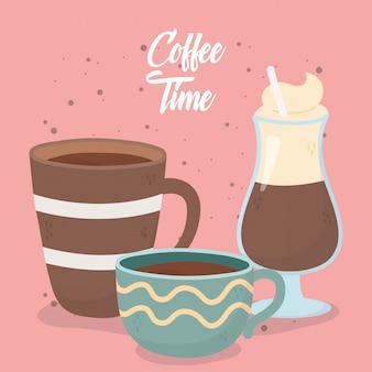 Кофе тайм, чашки и холодный латте свежий ароматный напиток