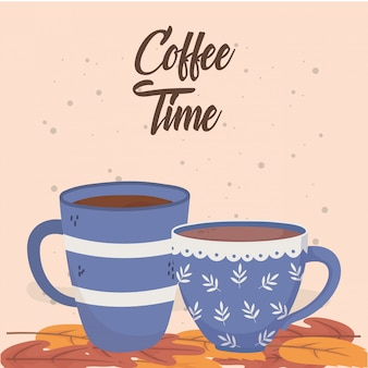 Coffee time, cups on leaves fresh aroma beverage
