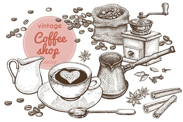 «время кофе» рука рисунок иллюстрации.