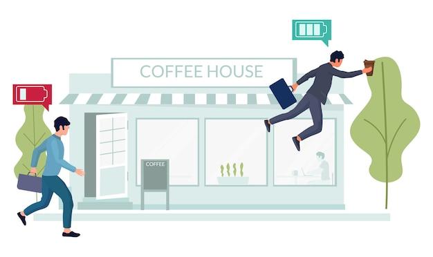 コーヒータイム。コーヒーショップに走っている幸せなオフィスの人々、フラットベクトルイラスト。ビジネスマン、従業員の漫画のキャラクターが休憩します。
