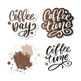 Время кофе битник винтажные стилизованные надписи. иллюстрация