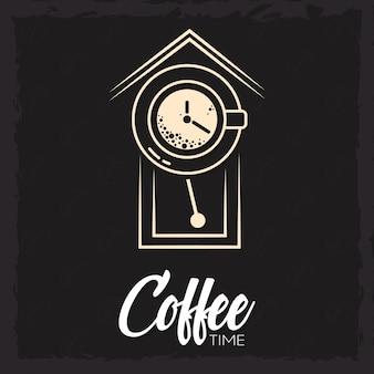 時計とカップとコーヒーの時間のイラスト