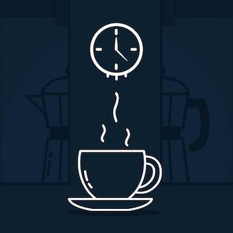 カップと時計とコーヒーの時間のイラスト