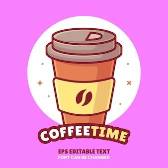 コーヒータイムのロゴベクトルアイコンイラストプレミアムフラットスタイルのコーヒー漫画のロゴのカップ