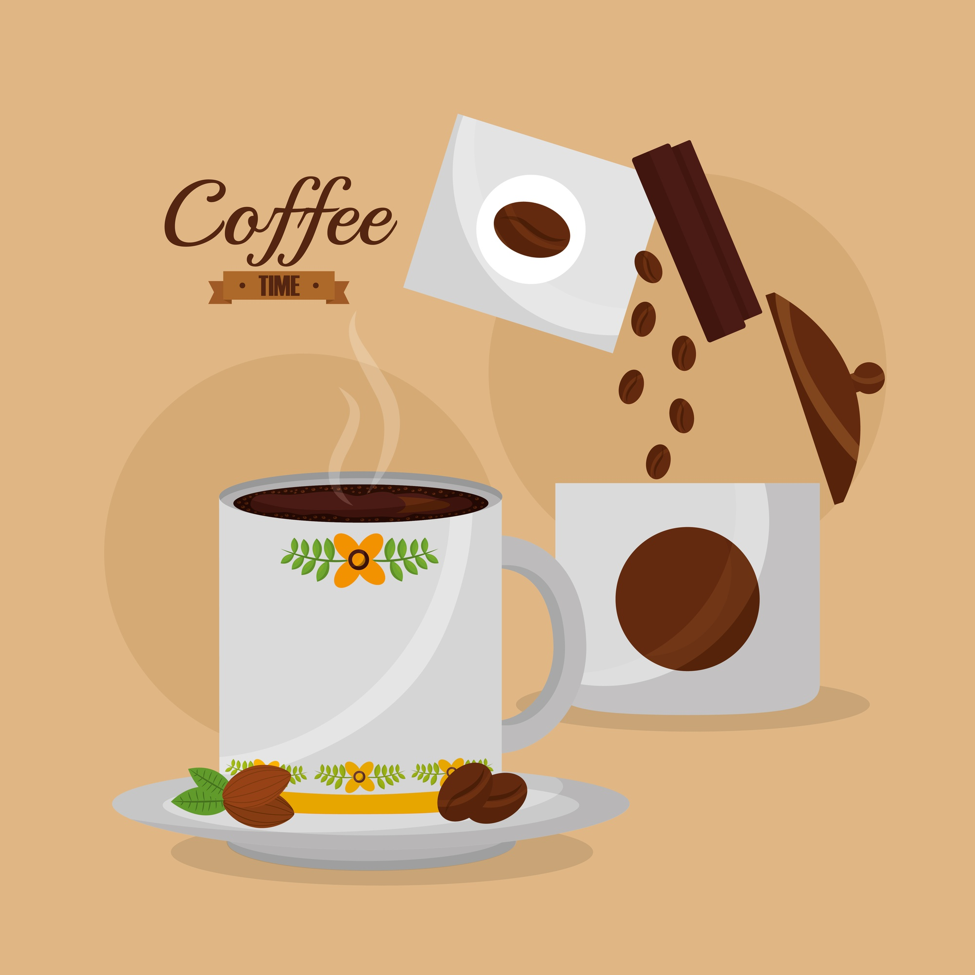 Coffee time mug with hot beverage and seeds
