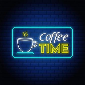 Время кофе неоновые вывески стиль текста.