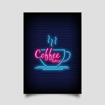 Coffee time in neon style with coffee cup