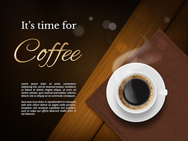 Coffee time poster. advertizing placard with brown coffee cup and place for text picture