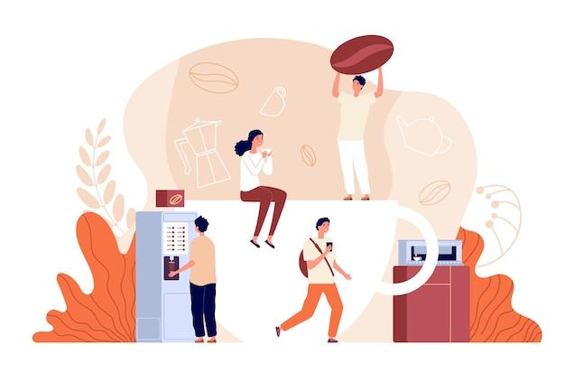 コーヒータイム。リラックスして、オフィスブレイク。温かい飲み物を飲む人。友達は一緒に時間を過ごし、バリスタと豆のベクトルイラスト。コーヒーブレイクドリンク、カフェインでリラクゼーション
