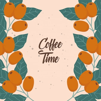 Coffee time, seeds branch leaves fresh beverage lettering