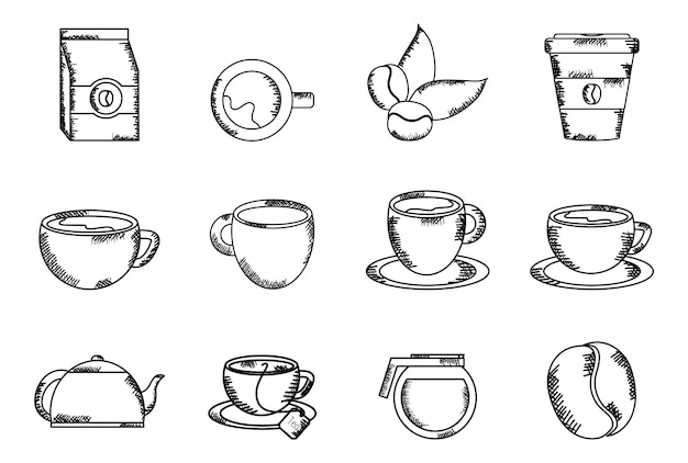 Coffee time set elements drawing