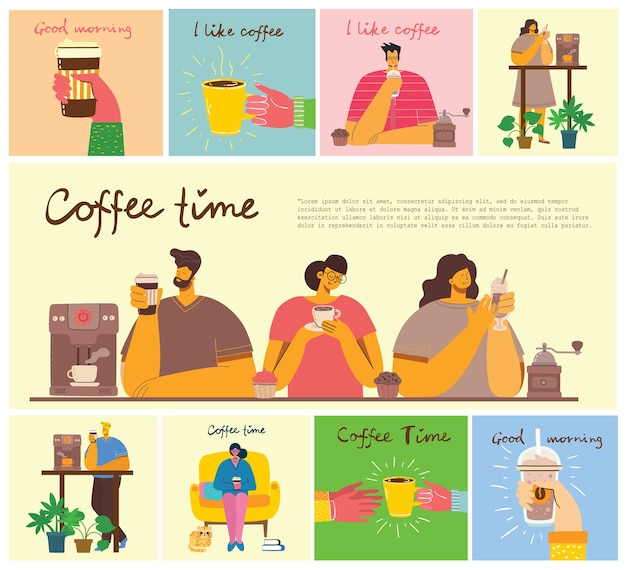 Coffee time, take a break and relax.   illustration set in modern flat design style