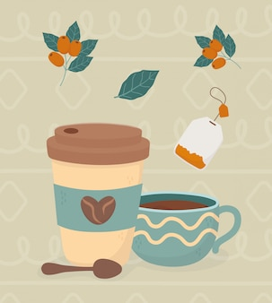Coffee time, takeaway coffee cup spoon tea bag beans fresh beverage