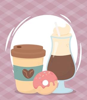 コーヒータイム、テイクアウトのカップラテ、ドーナツのフレッシュなアロマ飲料