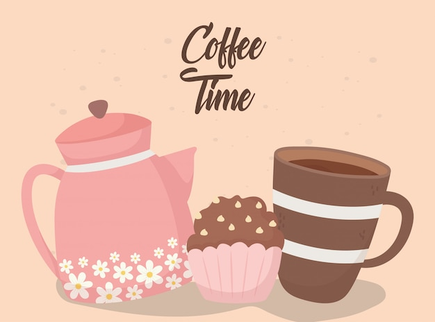 Coffee time, tasty cupcake cup and kettle fresh aroma beverage