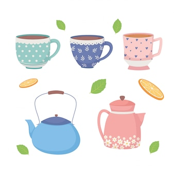 Coffee time and tea cups kettles and leaves icons