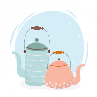 Coffee time, teapots kitchen beverage