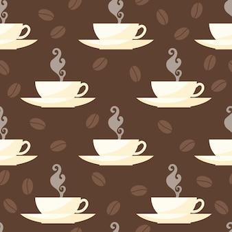 コーヒータイムのテーマ。カード、招待状、ポスター、バナー、プラカード、メニューまたは看板カバーのデザインで使用するための茶色のカバーで分離されたカップとシームレスなパッテンの背景