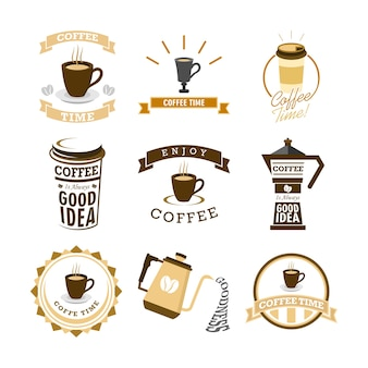 Coffee time various mural lettering typography illustration set