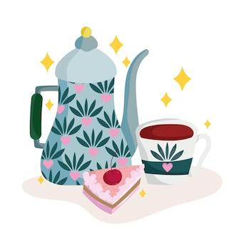 케이크와 함께하는 커피타임