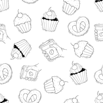 Coffee time with cupcake in seamless pattern hand draw food pattern