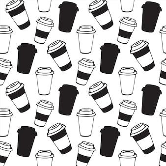行くコーヒー。ふたがシームレスなパターンの使い捨てカップ。コーヒーハウス、カフェ、ショップのデザインメニュー。