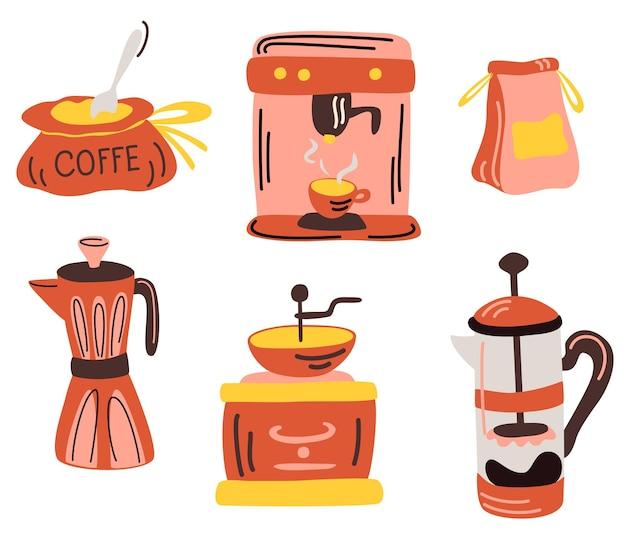 コーヒーツールと調理器具。コーヒーマシン、フレンチプレス、間欠泉コーヒーメーカー、コーヒーグラインダー。提供、醸造のためのバリスタコーヒーツールのセット。朝の朝食の飲み物のための機器。ベクター