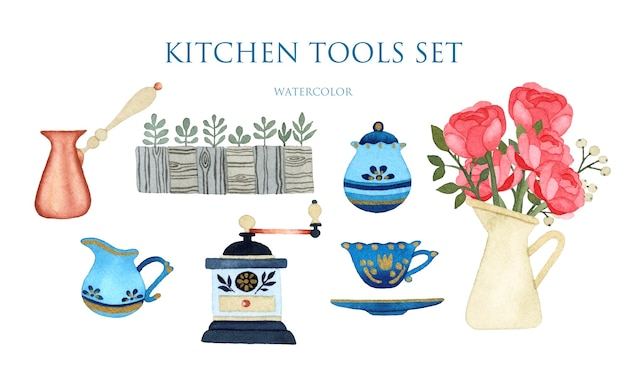 Coffee tools set watercolor isolated elements