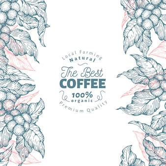Coffee tree banner template. vector illustration. retro coffee background.
